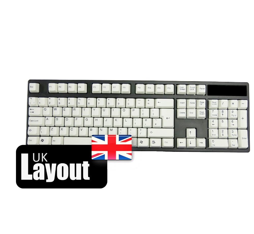 Tai-Hao ABS Double Shot Keycaps White Black Legends UK